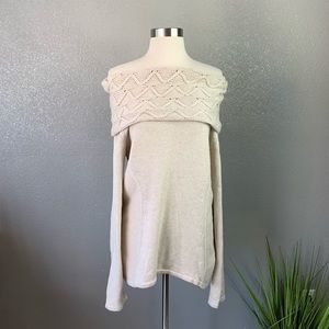 Express chunky knit off the shoulder sweater large